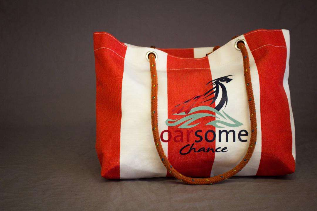3f32921009 Red and white stripe logo canvas beach bag with contrast overstitching and  red rope handles. Size  W  49cm x D  13cm x H  26cm Price  £30
